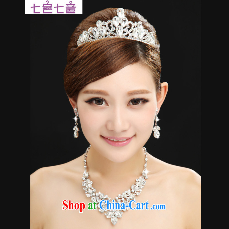 7 color 7, Korean-style bridal jewelry wedding jewelry accessories wedding dresses set link bridal jewelry 3-piece kit Crown PS 007 white are code