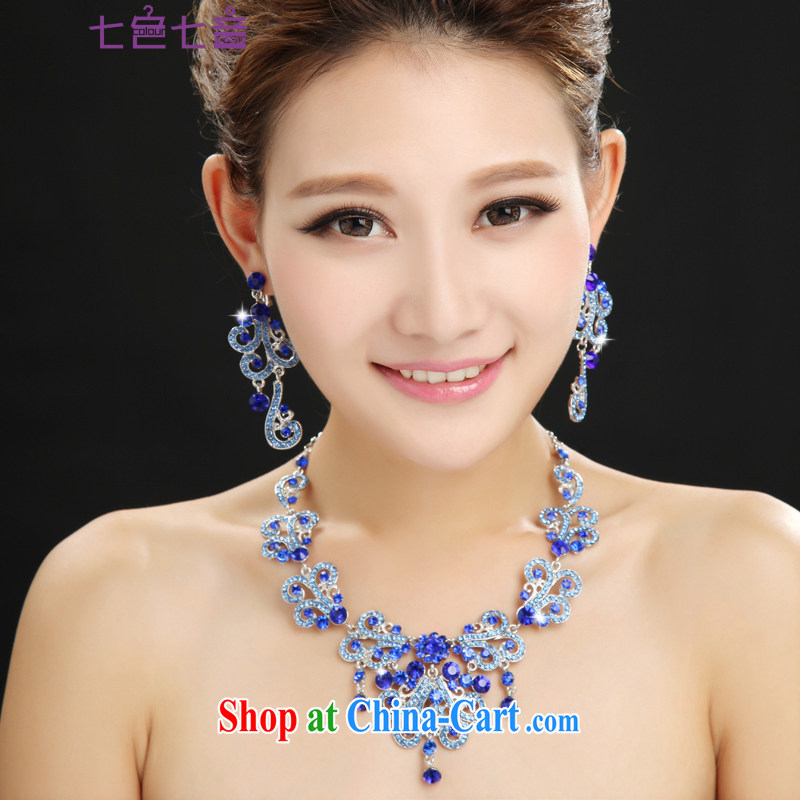 7 color 7 tone bridal jewelry Korean-style earrings blue Korean marriage necklace two package wedding dresses dresses decorated Wedding PS 012 cool blue are code
