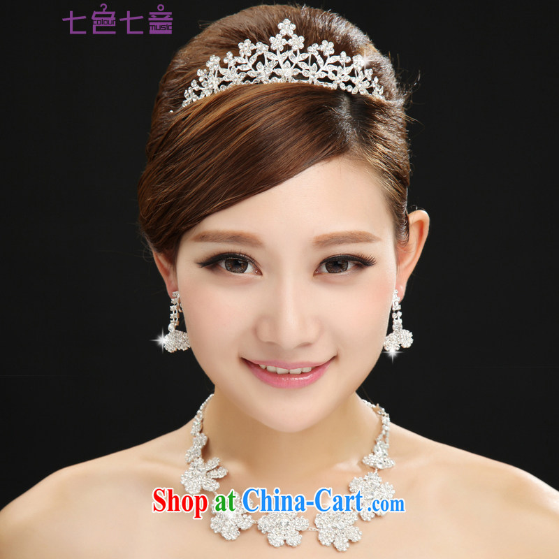 7 color 7 tone bridal necklace set water drilling Crown wedding jewelry Korean-style wedding accessories 3-Piece PS 013 white are code