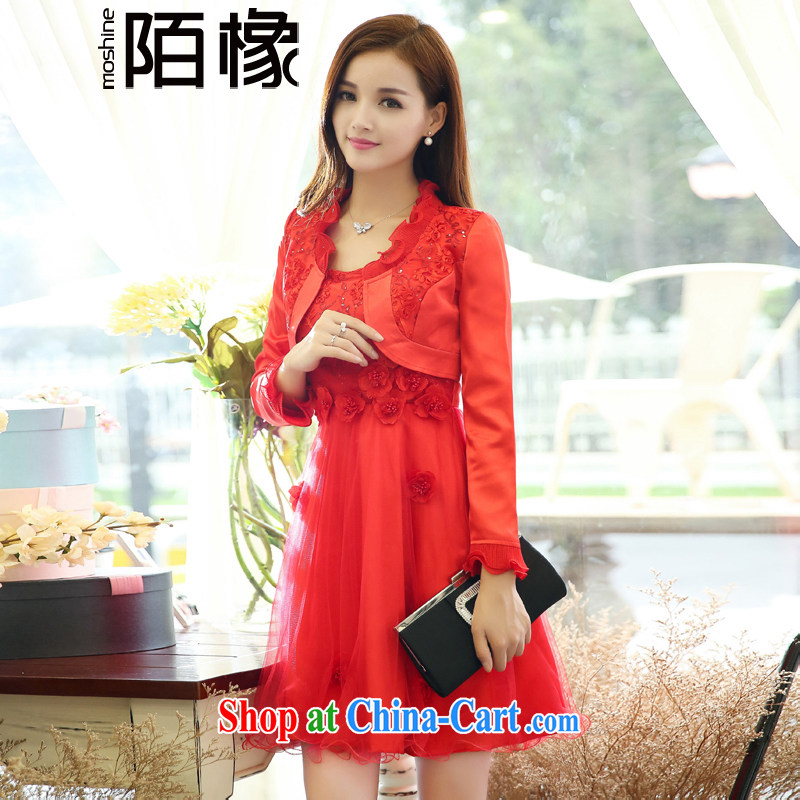 of Oak autumn 2015 new beauty, wedding wedding, small jacket dress two-piece Q 408,081 red XXXL