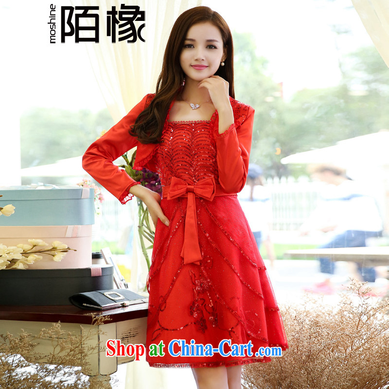 of the oak autumn 2015 new beauty, wedding wedding wedding small jacket off chest dress two piece kit Q 408,082 red XXXL