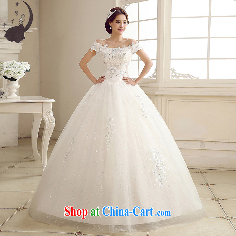 Dream of the day new wedding dresses 2015 style a field package shoulder, Japan, and South Korea with lace wedding dress 5659 white L