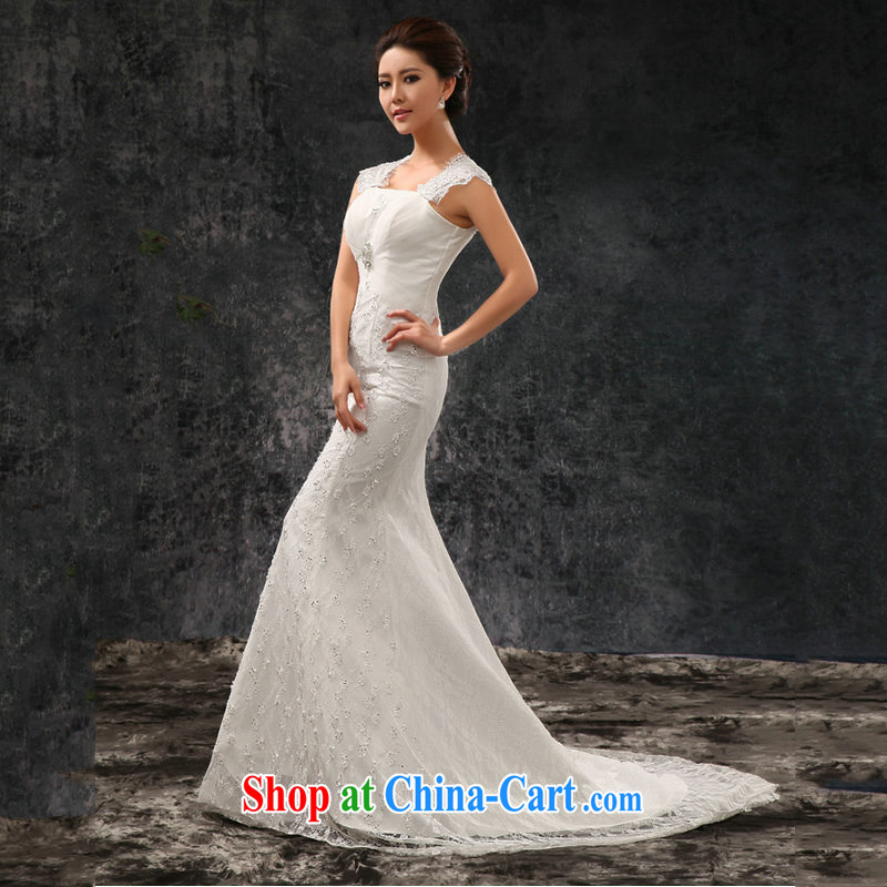 There's a bridal wedding dresses new small tail Princess wedding Korean sweet crowsfoot wedding AL 1488 white XS