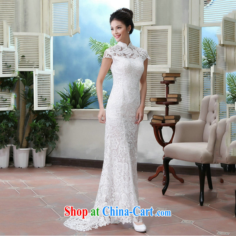 Still, 11 field shoulder back exposed dress cheongsam dress wedding dresses bridal toast serving long stylish crowsfoot AL 8985 white XS