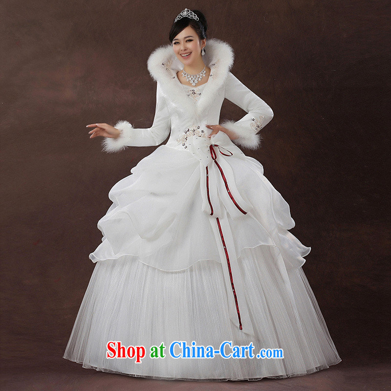 2014 new bride's wedding dresses Korean winter clothes winter wedding long-sleeved sweet the cotton Customer to size up to be returned.