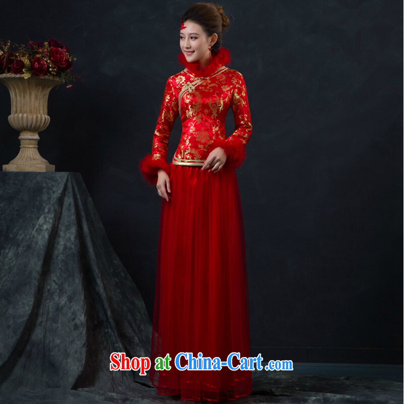 Married women cheongsam dress new stylish dresses winter dress long red thick quilted bows service customer to size the do not return