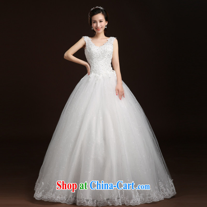 Qi wei wedding dresses with bridal suite double-shoulder wedding lace wedding dresses 2015 summer new paragraph to align with Wedding Video thin A Field dress white XL