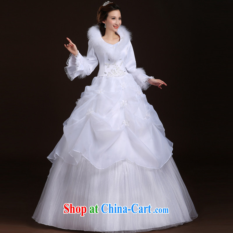 Wei Qi 2014 winter wedding dresses winter clothes wedding plus Gross winter warm wedding and cotton with long-sleeved wedding dresses, for wedding white XL