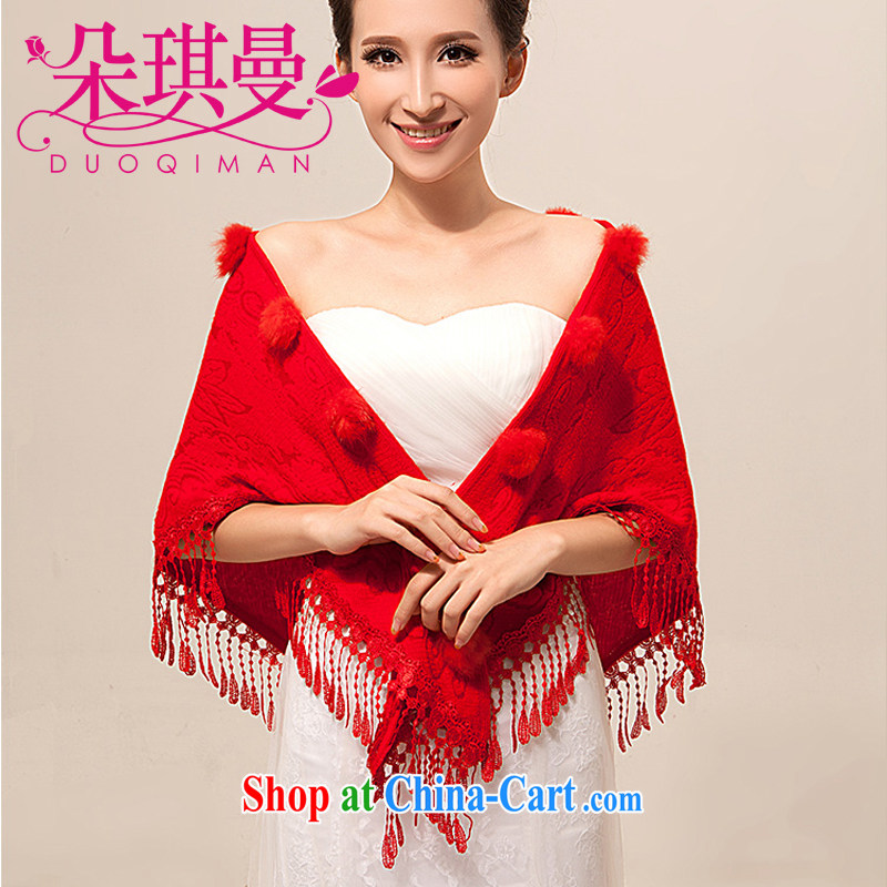 Flower Ki Cayman bridal wedding dresses shawls wedding bridesmaid White Red plush thin shawl scarf autumn and winter shawl red