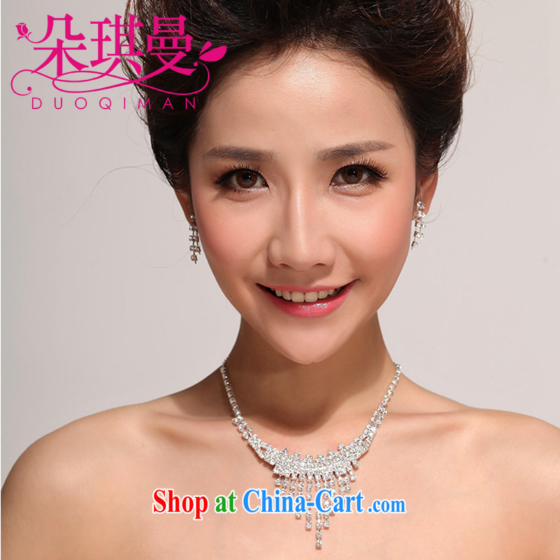 Flower-ki, bridal necklace earrings Korean-style wedding jewelry, 3-piece water drilling wedding accessories jewelry necklaces
