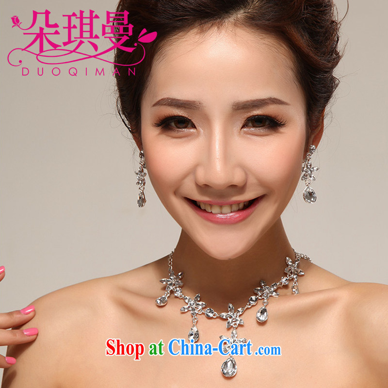 Flower-ki Cayman glamourous fantasy Korean water drilling jewelry items set link marriage necklace wedding accessories 3-piece kit jewelry
