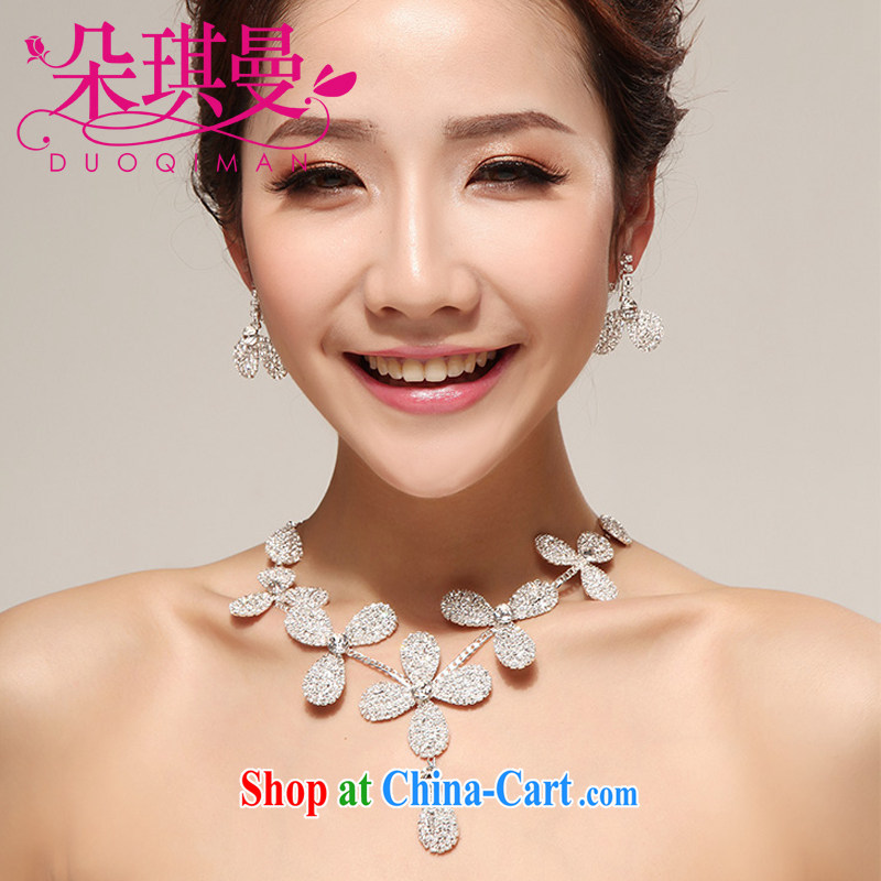 Flower-ki Cayman brides Korean-style Pearl water drill petal necklace earrings bridal wedding dresses accessories styling jewelry