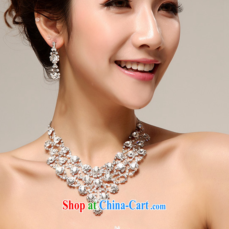 Seol Ki-hyeon says Norman Weddings marriage luxuriously decorated to a high standard, bridal accessories kit decorations water Drill Set chain necklace two-piece jewelry, flower Angel (DUOQIMAN), online shopping