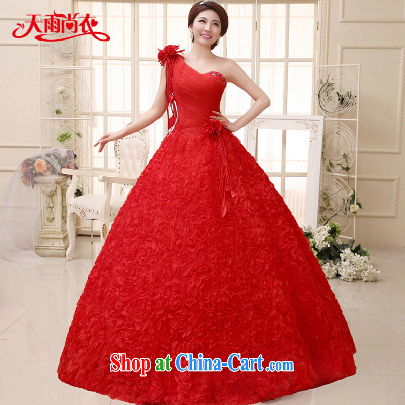 Rain is still clothing bridal dresses 2015 new single shoulder Princess marriage shaggy white dresses with large code wedding HS 915 red tailored