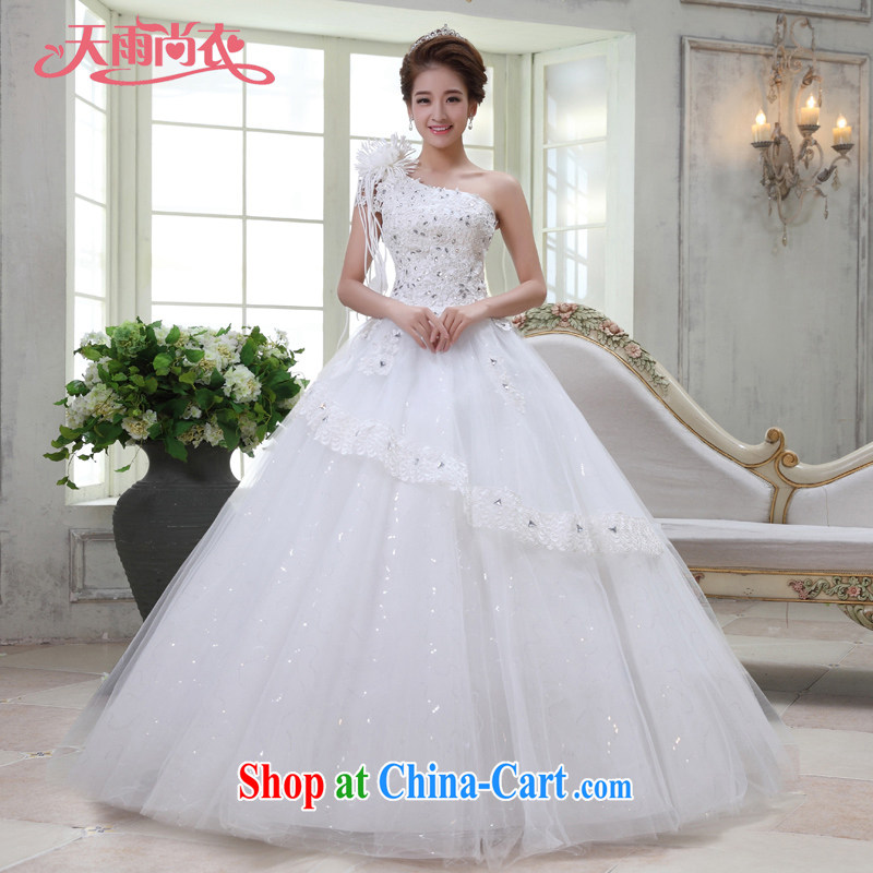 Rain is still clothing bridal wedding 2015 new wedding dresses Korean bridal Princess tied with single shoulder flowers water drilling lace with HS 928 white tailored