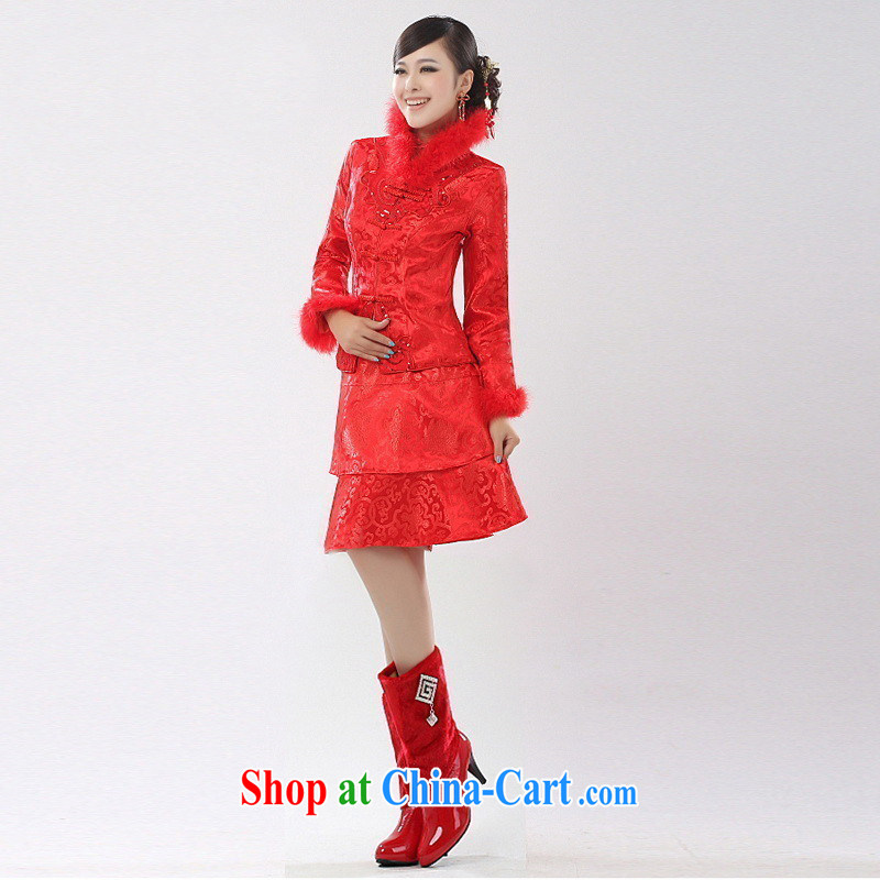 Autumn and Winter, bridal short cotton dresses two kits, winter wedding dress toast Service Package customers to size the Do not be returned.