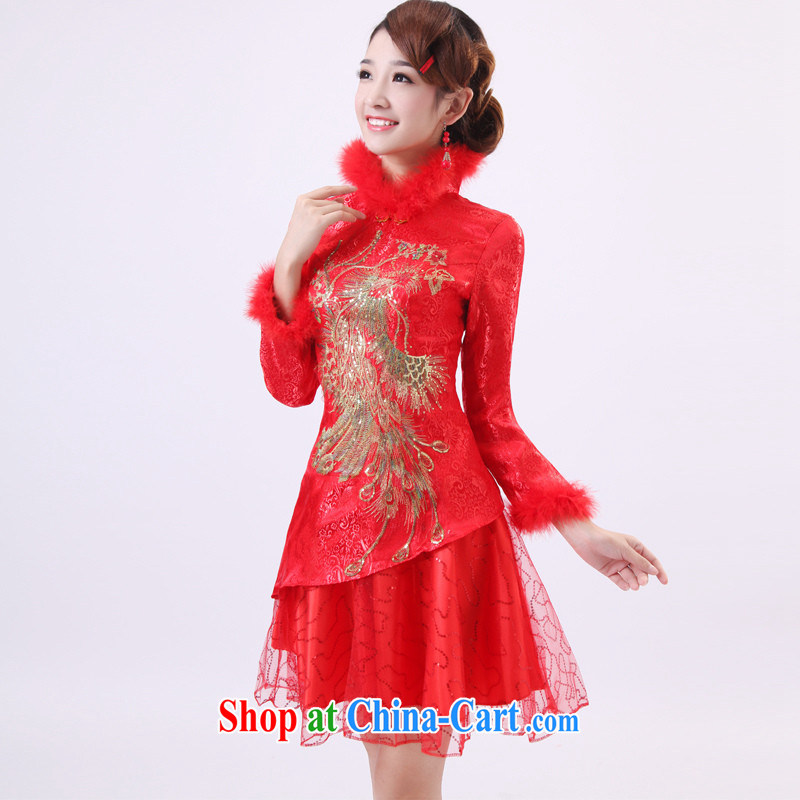 Dresses winter clothes 2014 new long-sleeved bridal dresses wedding autumn and winter dresses, short red bows service units to customer size will not be returned.