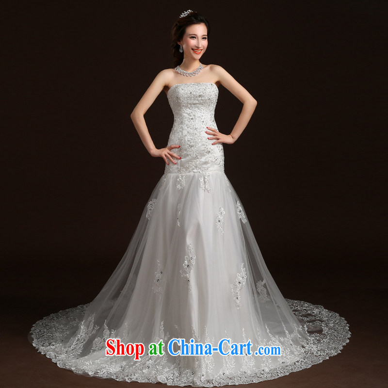 Qi wei wedding dresses summer 2015 new stylish erase chest wedding crowsfoot wedding bridal marriage wedding small tail tied with a large code wedding white XL