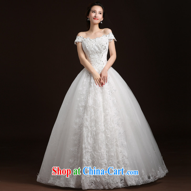 Qi wei wedding dresses summer new 20,151 field shoulder wedding shaggy dress bridal wedding with wedding tied with a large, white XL