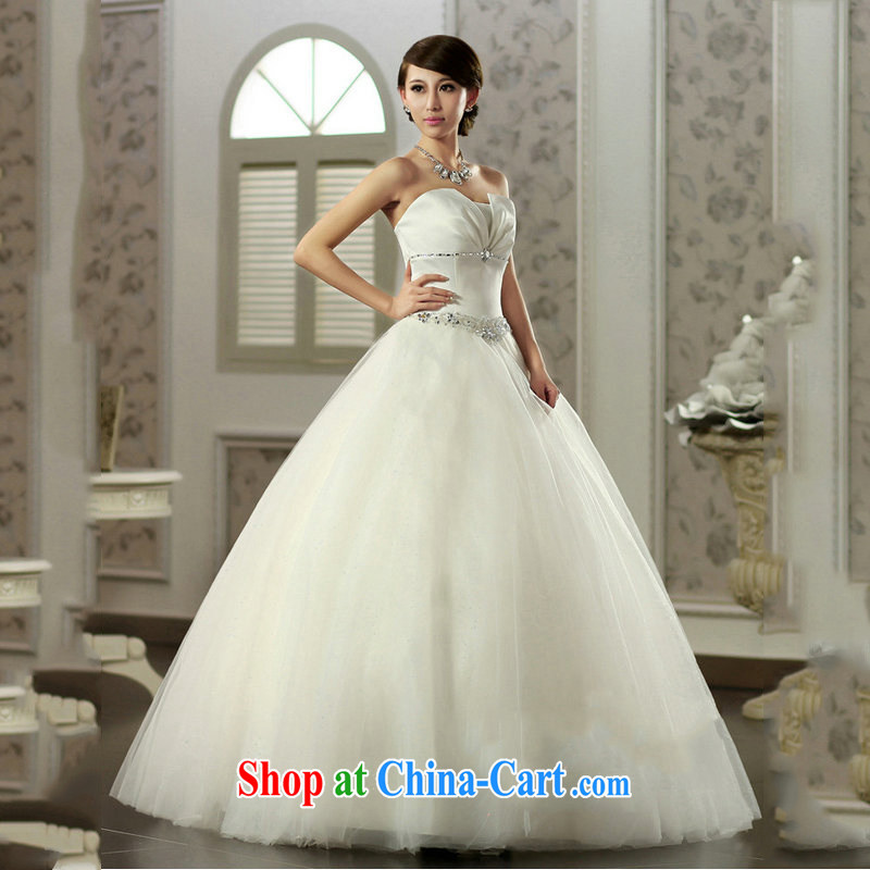 Optimize Hung-erase chest Princess skirt water drilling simple Princess wedding Satin shaggy skirts video thin bridal wedding JS 8121 m White L