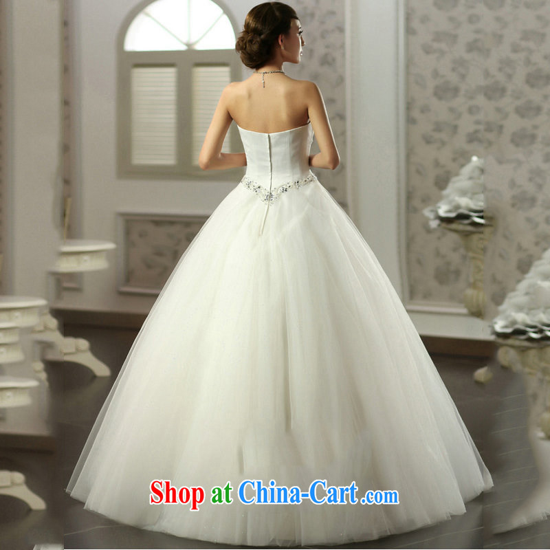 Optimize Hung-erase chest Princess skirt water drilling simple Princess wedding Satin shaggy skirts video thin bridal wedding JS 8121 m White L, optimize, and shopping on the Internet