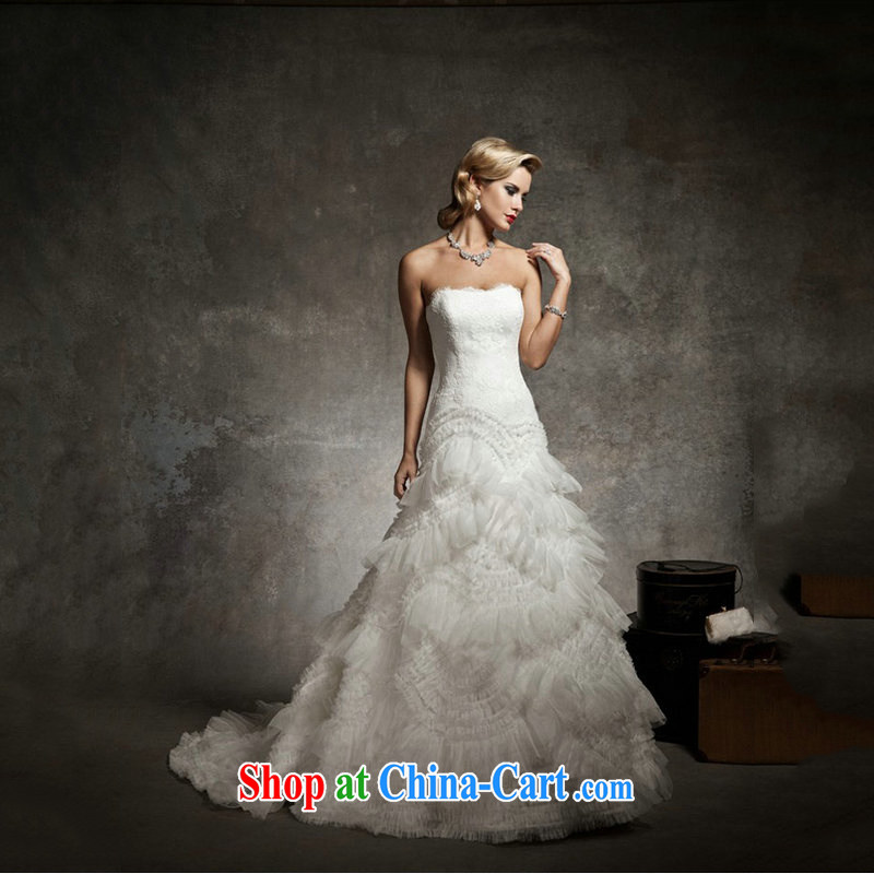 Optimize Hung-wedding dresses new 2014 Korean style small tail erase chest bridal wedding JS 8124 m White tailored