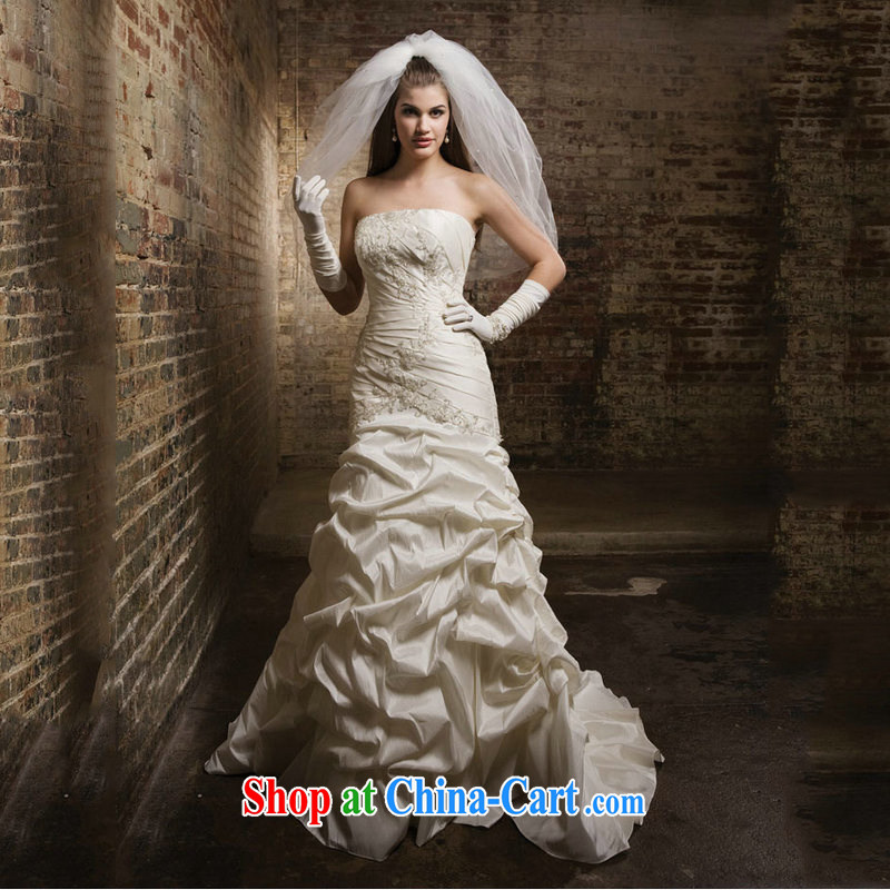 Optimize Hong new wedding dresses white bare chest small tail wedding sexy bare chest wedding JS 8125 m White L