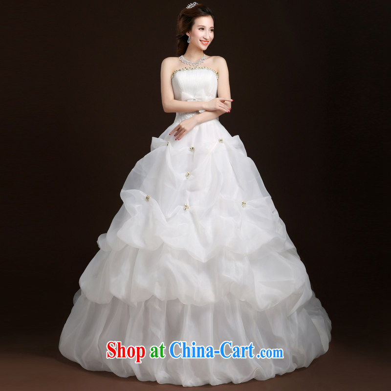 Wei Qi-tail wedding dresses 2015 summer new erase chest wedding tail wedding wedding dresses tie wedding, female A field dress white XL