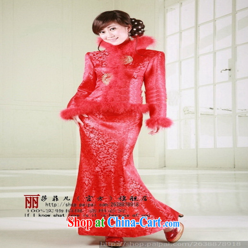 winter clothes red dragon two round-cultivating crowsfoot cheongsam dress bridal wedding dress new winter, customer size will not be returned.