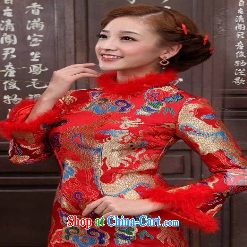 Red bridal wedding toast service improvement and stylish winter dresses package and short, long-sleeved folder cotton cheongsam dress red customers to size will not be returned.