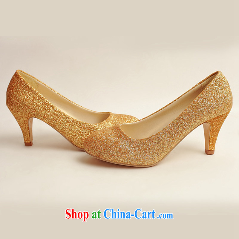 Flower Angel Cayman wedding shoes wedding shoes bridal shoes dress shoes wedding shoes Ballroom shoes high heel gold performance shoe stage shoes gold 37, flower Angel (DUOQIMAN), online shopping