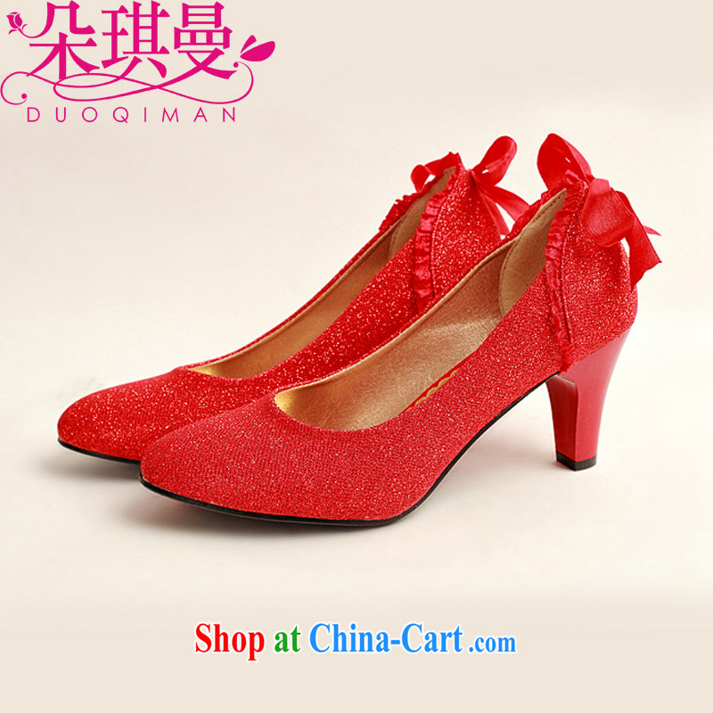Flower Angel Cayman marriages behind bowtie red wedding shoes, low-root, simple and elegant and classy, and 100 ground red 38
