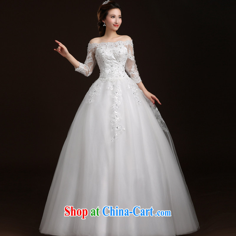 Qi wei summer new wedding dresses 2015 New Field shoulder with wedding lace wedding long-sleeved wedding dresses with white XL