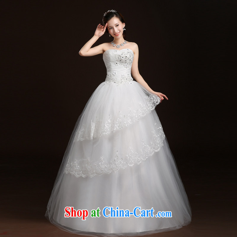 Qi wei summer 2015 new wedding Korean wiped chest wedding dresses with straps marriages wedding dresses shaggy dress wedding with white XL