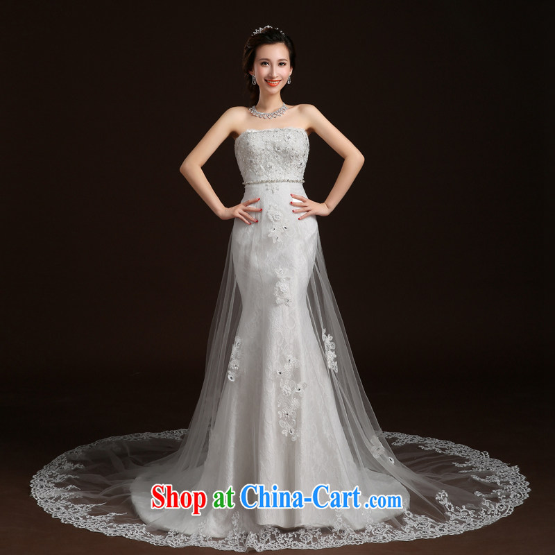 Qi wei summer 2015 new wedding dresses bride's bare chest wedding crowsfoot wedding band wedding tail wedding video skinny trailing white XL