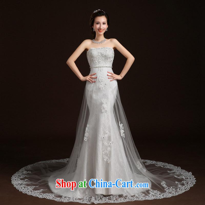 Qi wei summer 2015 new wedding dresses bride's bare chest wedding crowsfoot wedding band wedding tail wedding video skinny trailing white XL