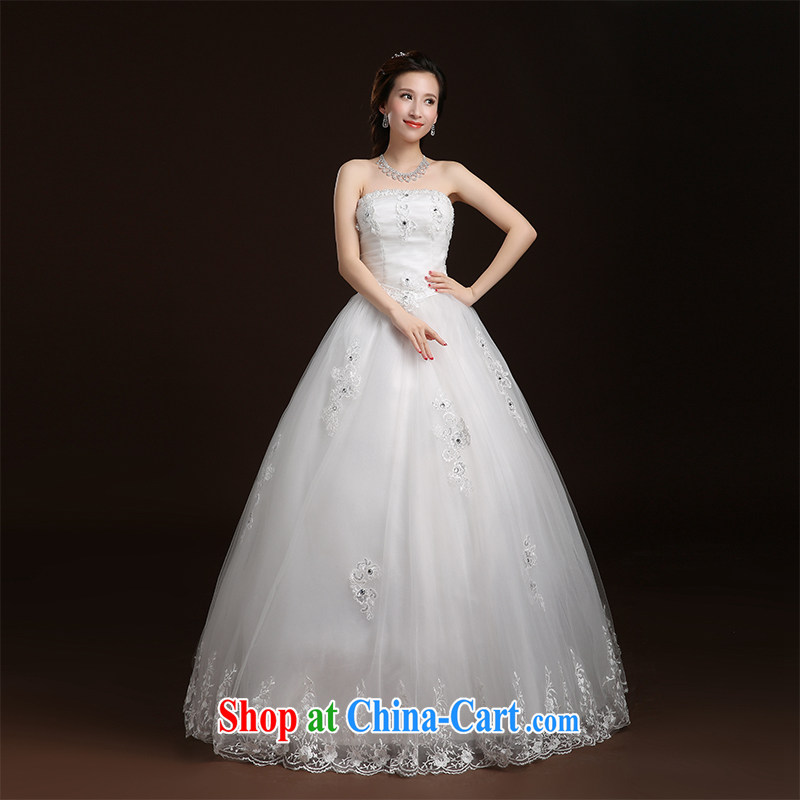 Qi wei summer 2015 new marriage wedding Korean flowers sexy bare chest shaggy dress straps, with wedding dresses white XL