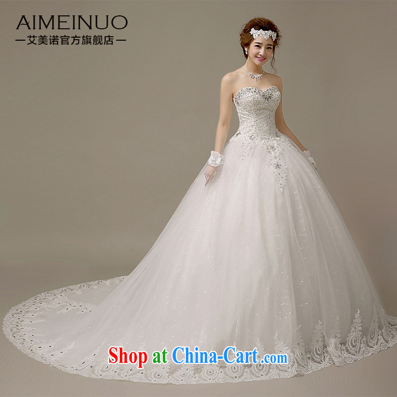 The United States, wedding dresses 2015 new Korean wood drill heart-shaped bare chest only lace skirts with tie-cultivating graphics skinny tail H - 58 white XXL