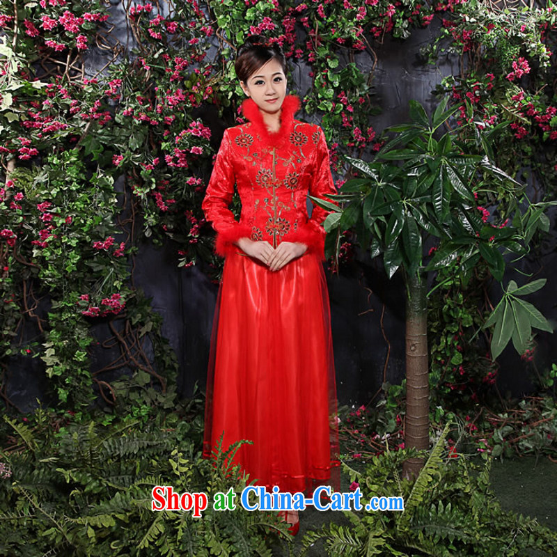 2014 new bridal wedding dresses wedding dresses Chinese qipao package winter clothes wedding antique dresses 5093 customers to size will not be returned.