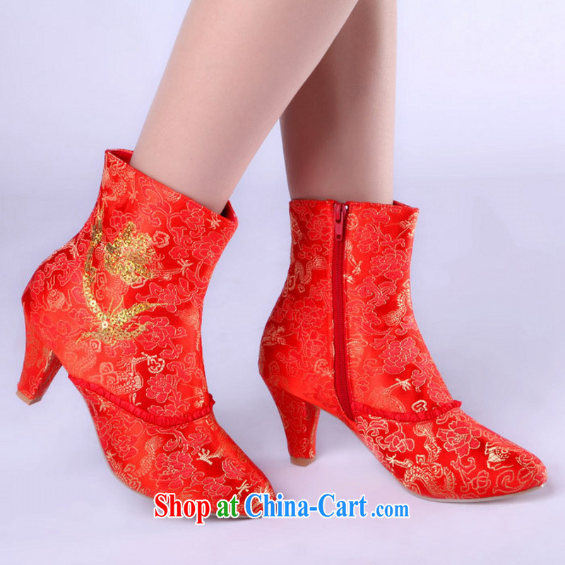Winter New red high heel satin, bridal wedding shoes wedding shoes bridal short boots 39