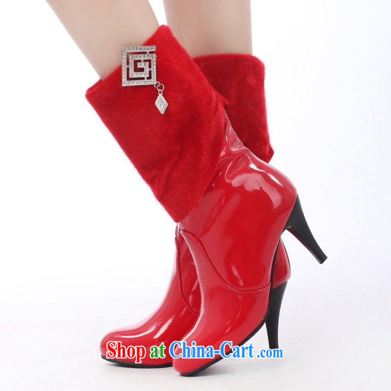 2014 new bride high and boots high heel shoes red female boots marriages cotton shoes bridal shoes, winter 39
