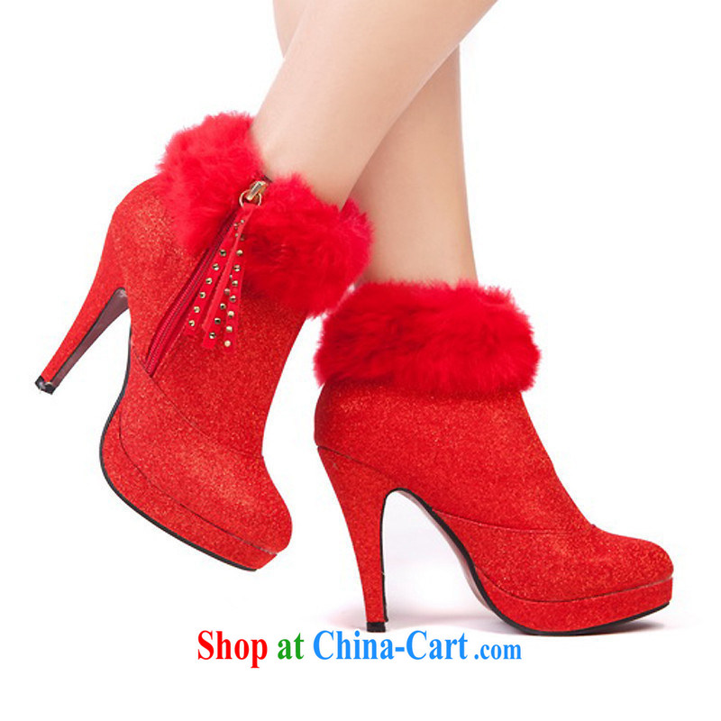 New winter wedding shoes red high-heel shoes bridal wedding shoes gold boots warm wedding shoes red 39