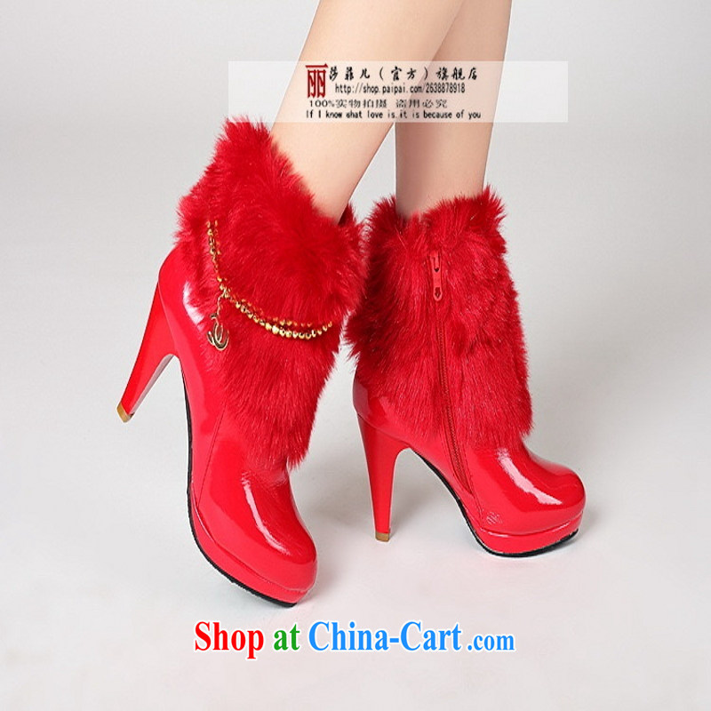 Bridal red bridal wedding high heel and shoes autumn and winter bridal wedding dresses boots bridal shoes 39