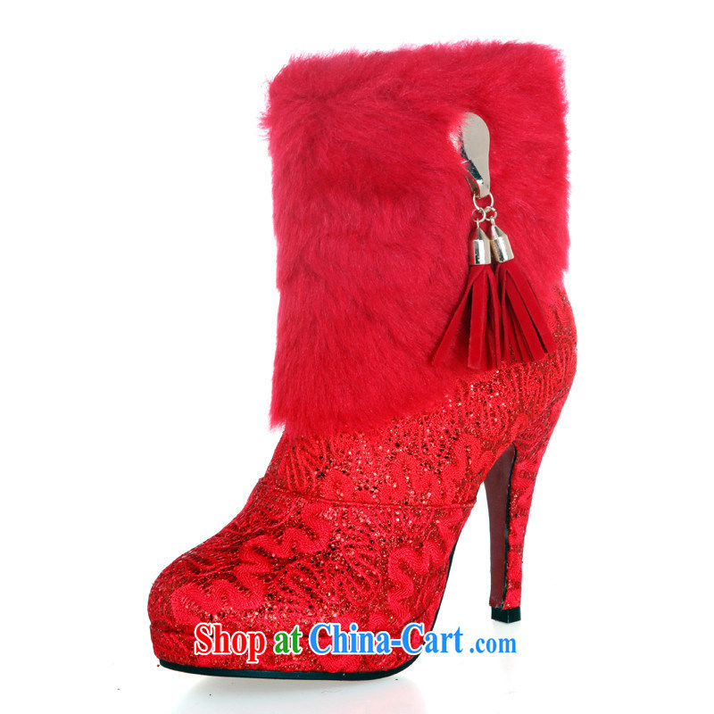 Bride's warm winter boots wedding dresses dresses dedicated boots Super Warm red Korean winter boots, red 39