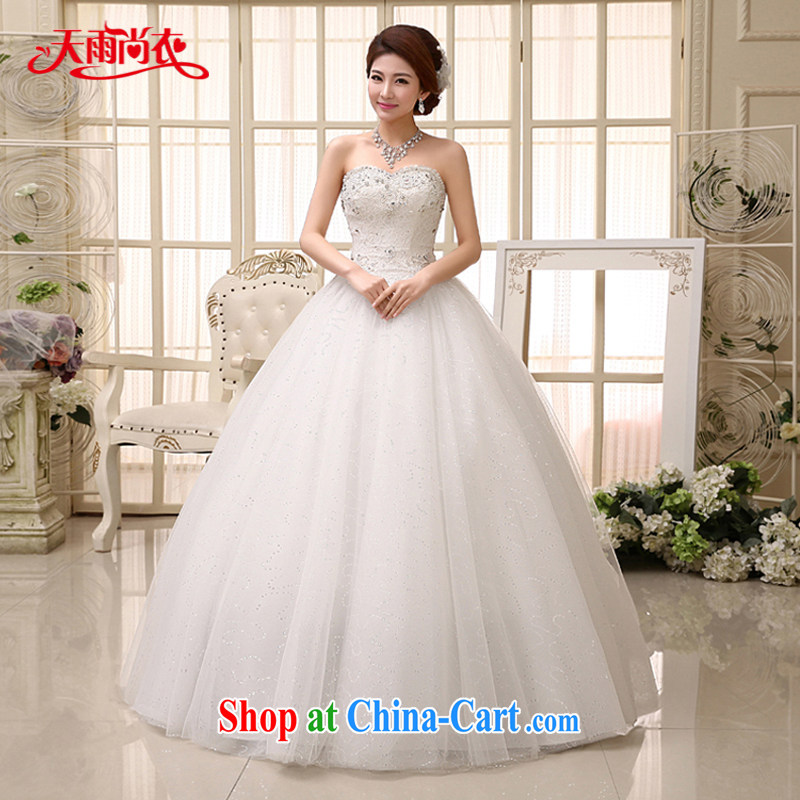 Rain is still Yi marriages 2015 new Wedding Fashion Princess wood drill lace tie-off chest white with yarn HS 973 white tailored