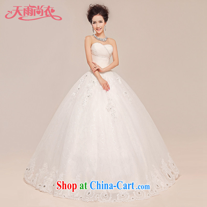 Rain is still Yi 2015 new luxurious and elegant parquet drilling quality Princess Mary Magdalene chest strap wedding dresses bridal white HS 949 white tailored