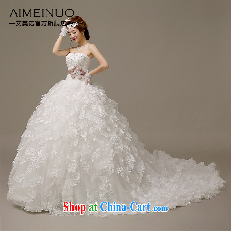 The United States, wedding dresses 2015 new Korean lace take off her chest with wood drill with flowers marriages bound beauty with small tail H - 59 white XL