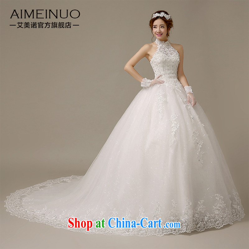 The United States, wedding dresses 2015 new stylish Korean version is also lace beaded bridal wedding beauty tied with small tail H - 61 white XL