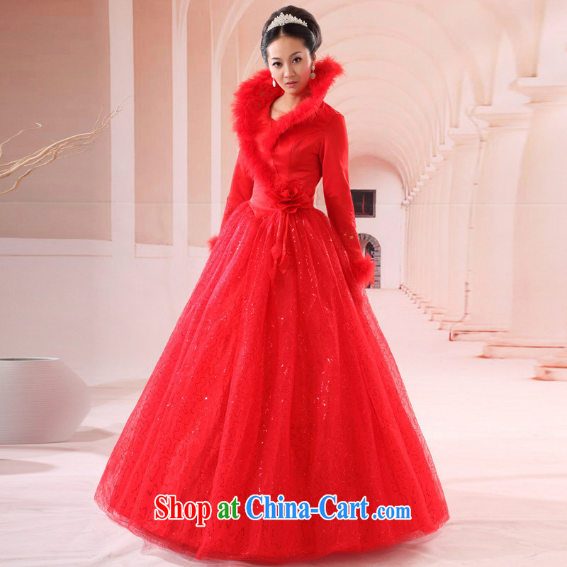 Red winter clothing wedding dresses new 2014 bridal long evening dress toast serving 405 customers to size will not be returned.