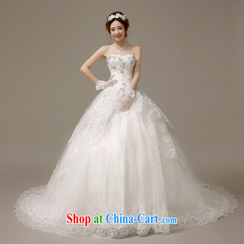 The United States, wedding dresses 2015 new Korean wood drill lace take off chest marriages beauty small tail strap H - 60 white XL